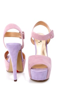 Luichiny April Daze Blush and Lilac Color Block Platform Heels at Lulus.com!