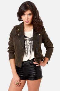 Obey Hitch Hiker Washed Brown Motorcycle Jacket at Lulus.com!