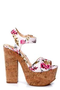 Luichiny Vic Toria Pink Floral Print Platform Sandals at Lulus.com!