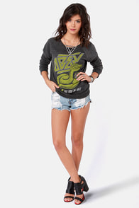 Obey Cobra Attack Heather Black Print Sweater at Lulus.com!