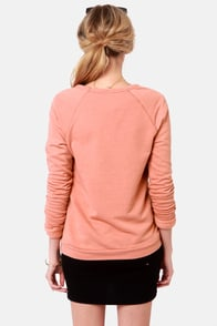 Obey Fox Dusty Coral Fox Print Sweater at Lulus.com!