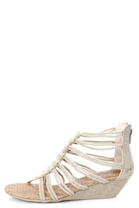 Blowfish Caroline Natural Rope Strappy Knotted T-Strap Sandals at Lulus.com!