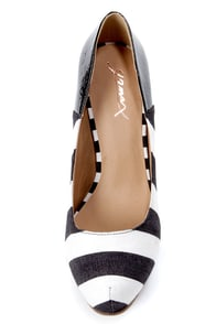 GoMax Cheap Trick 04F Black and White Striped Platform Pumps at Lulus.com!