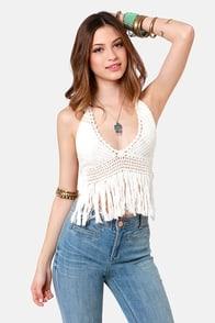 Cleobella Gypsy Beaches Crocheted Ivory Halter Top