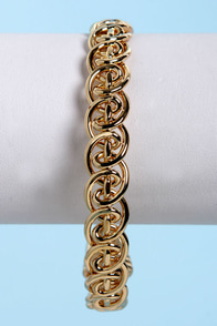 Scrollin' Kisses Gold Clutch Bracelet at Lulus.com!