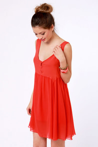 Rhythm Sea Saw Coral Red Dress at Lulus.com!