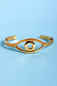 Eye Caramba! Gold Eye Clutch Bracelet at Lulus.com!