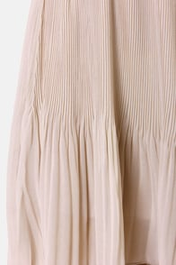 Black Sheep Zinnia Beige Pleated High-Low Skirt at Lulus.com!