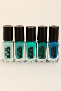 The New Black Ombre Waves Teal Nail Polish Set