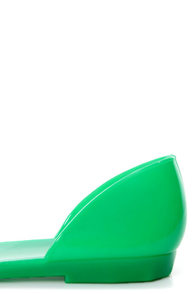 Fiebiger Greenfly Green D'Orsay Jelly Flats at Lulus.com!