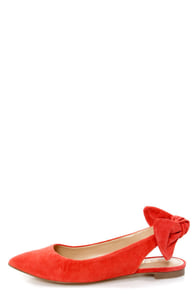 Report Shelli Coral Back-Bow Slingback Pointed Flats at Lulus.com!