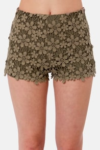 Black Sheep Dahlia Olive Green Lace Shorts at Lulus.com!