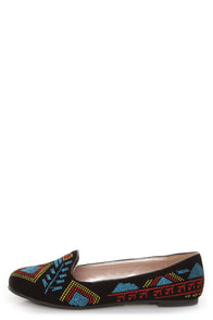 Yoki Gator 78 Black Embroidered Smoking Slipper Flats