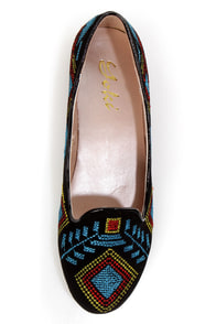 Yoki Gator 78 Black Embroidered Smoking Slipper Flats at Lulus.com!