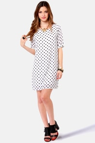 Spot the Hot Black and White Polka Dot Dress at Lulus.com!