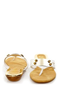 Yoki Eva 03 White Metal Plated Thong Sandals at Lulus.com!