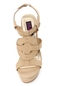 Yoki Celia 12 Beige Sun Cross T-Strap Platform Wedge Sandals at Lulus.com!
