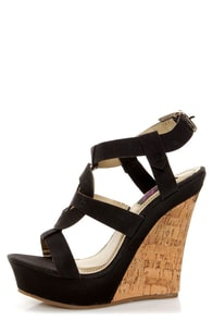 Yoki Celia 12 Black Sun Cross T-Strap Platform Wedge Sandals at Lulus.com!