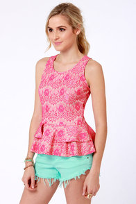 You be Frillin' Hot Pink Lace Top at Lulus.com!