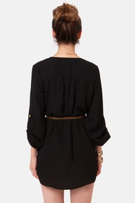 Keep it Real Belted Black Shirt Dress at Lulus.com!