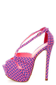 Privileged Uprise Neon Pink Zigzag Striped Platform Heels at Lulus.com!