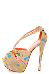 Privileged Uprise Tan Paint Splatter Print Platform Heels