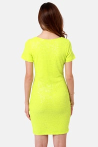 Enlighten Me Neon Yellow Sequin Dress at Lulus.com!