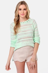 Sticks and Rhinestones Mint Green Jeweled Sweater at Lulus.com!