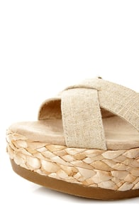 Blowfish Gypsy Natural Linen Flatform Wedge Sandals at Lulus.com!