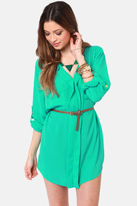 Keep it Real Belted Teal Shirt Dress at Lulus.com!