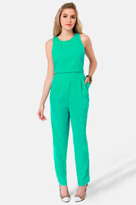 Variety is the Spikes Studded Green Jumpsuit at Lulus.com!