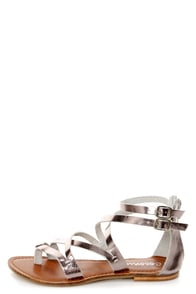 Coconuts Terra Silver Metallic Strappy Gladiator Sandals at Lulus.com!