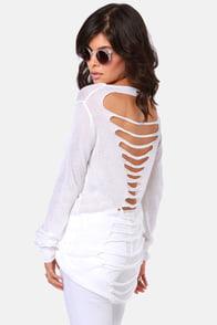 Shreds Up! Slashed Ivory Sweater