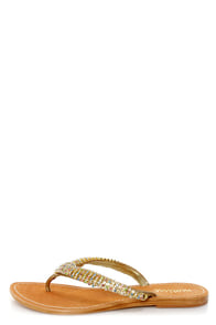 Matisse Universe Gold Rhinestone Studded Thong Sandals at Lulus.com!