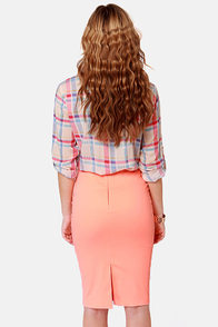 Radio Attractive Neon Coral Pencil Skirt at Lulus.com!