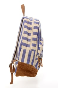 Roxy Lately Beige and Blue Striped Backpack at Lulus.com!
