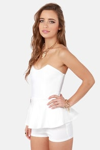 Romp Cooler White Strapless Romper at Lulus.com!
