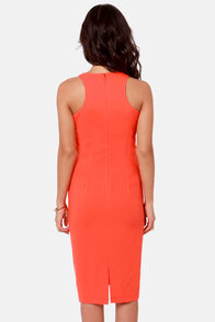 Spikes Cadet Studded Coral Orange Midi Dress at Lulus.com!