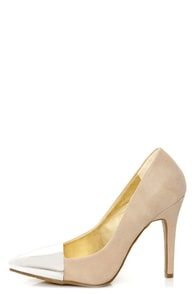 Shoe Republic LA Latin Nude and Silver Cap-Toe Pointed Pumps at Lulus.com!