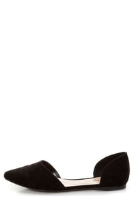 Dolley 03 Black D'Orsay Pointed Flats