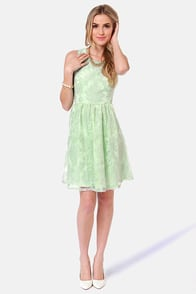 Damask-ing Nicely Mint Green Dress at Lulus.com!
