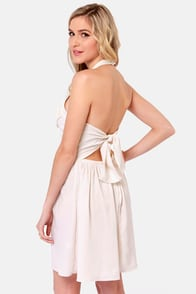 Victorian Beauty Cream Lace Halter Dress at Lulus.com!