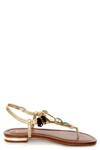 Restricted Kally Gold Gem Embellished Thong Sandals at Lulus.com!