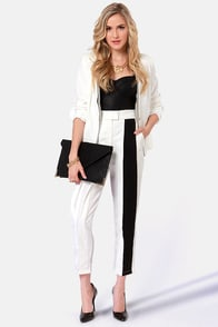 In the Line-Light Black and Ivory Pleated Pants at Lulus.com!