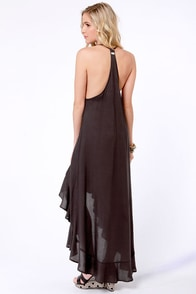 RVCA Chiefdom Charcoal Grey High-Low Dress at Lulus.com!
