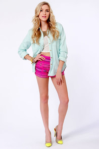 Billabong Step Outside Woven Fuchsia Pink Shorts at Lulus.com!