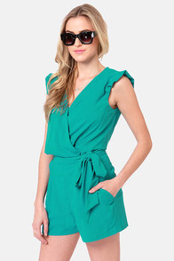 Take the Wrap Teal Romper at Lulus.com!