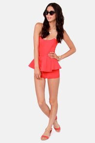 Romp Cooler Coral Strapless Romper at Lulus.com!