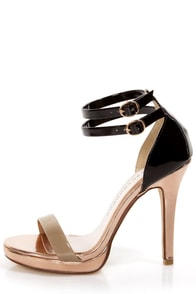 Chinese Laundry Imagination Mixed Black Multi Open Toe Heels at Lulus.com!