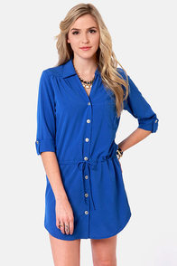 Lucy Love Celeste Royal Blue Shirt Dress